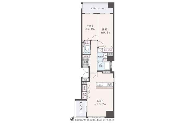 間取り図面。玄関を入って左側に9.1帖の洋室の5.9帖の洋室を配置、右側に18.2帖のLDKを配置した細長い間取り。