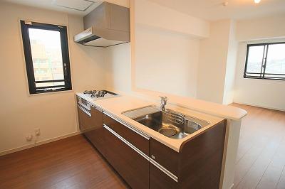 3つ口のガスコンロの横に小窓付き、食器洗浄乾燥機付きのシステムキッチン